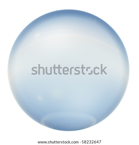 High resolution 3D blue glass sphere isolated on white ideal as a web button - stock photo