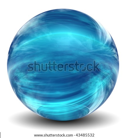 High resolution 3D blue glass sphere with shadow isolated on white, reflecting a sky with clouds - stock photo