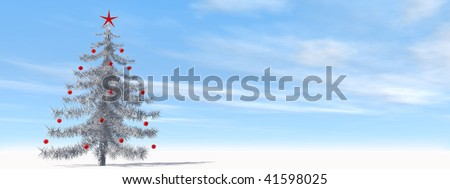 High resolution 3D christmas tree with red ornaments banner