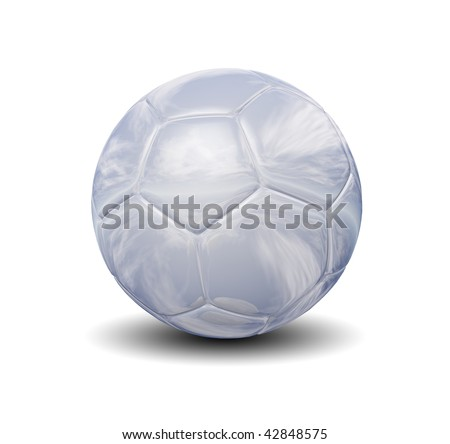 High resolution 3D glass soccer ball isolated on white background