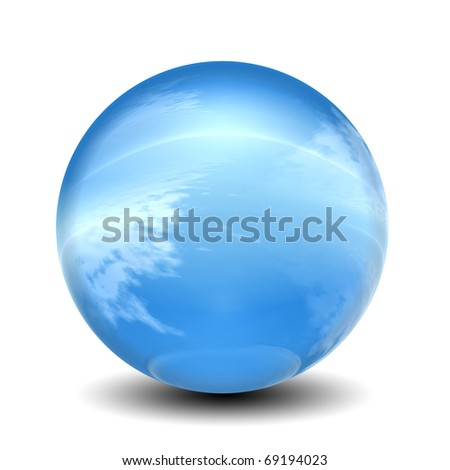 High resolution 3D glass sphere isolated on white ideal as a web button - stock photo