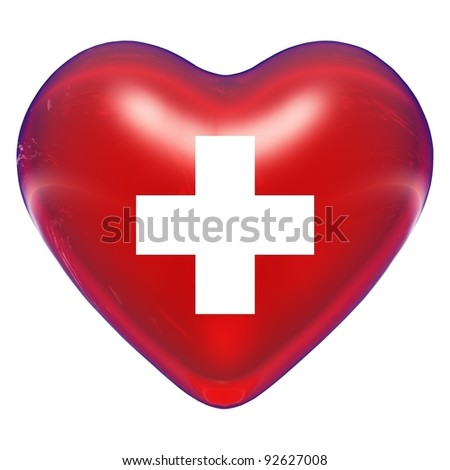 High resolution 3D heart with a cross sign or symbol isolated on white background, ideal for medical, sanitary or medicine designs. It is a concept or conceptual image made for health or cardiology. - stock photo
