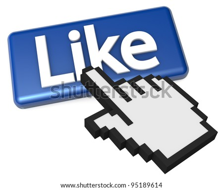 High resolution 3D illustration of a finger cursor clicking a like button symbol. - stock photo