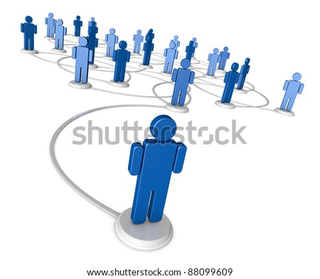 High resolution 3D illustration of icon people linked by communication lines that start from one red person out in front of the crowd.