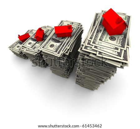 High resolution 3D illustration of red house sitting on stack of one thousand 100 dollar bills.