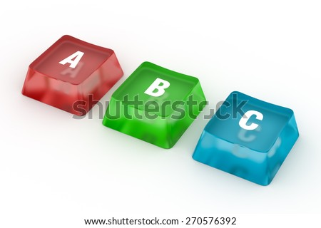 High Resolution 3d Image of ABC Letters from puzzle blocks - stock photo