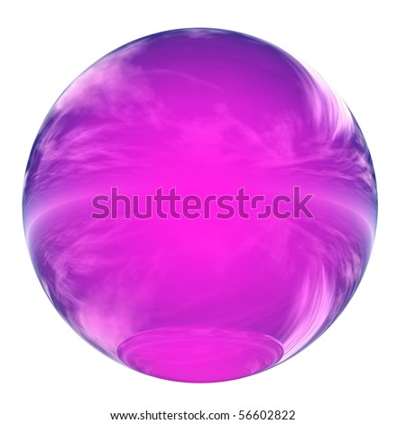 High resolution 3D pink glass sphere isolated on white ideal as a web button - stock photo