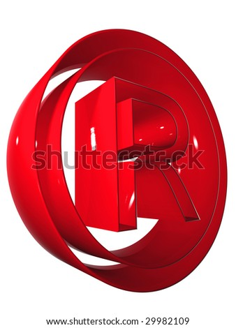 high resolution 3D red rights symbol rendered at maximum quality ideal for web,business, or conceptual designs,isolated on white background