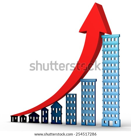 High resolution 3d render of a growing real estate market financial chart isolated on white background.  - stock photo