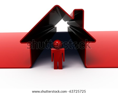 high resolution 3d render of a man standing in front of his house