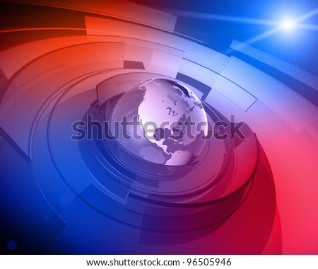 High resolution 3D render of Earth globe with abstract shapes rotating around and lens flare in the background. - stock photo