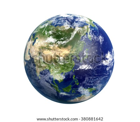 High resolution 3D render of Planet Earth. Transparent water, shaded relief, natural colors, clouds cover. World map courtesy of NASA. - stock photo