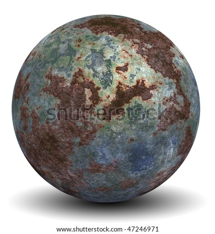 High resolution 3d rusted metal ovoid or oval isolated on white,ideal for 3D symbols, web buttons or logo designs - stock photo