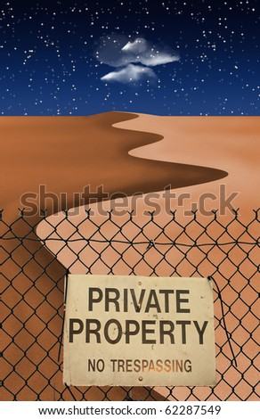High Resolution Desert with fence and sign - stock photo