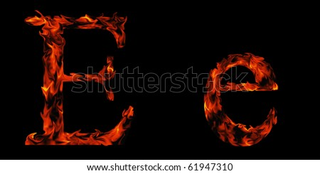 High resolution flame fonts isolated on black background