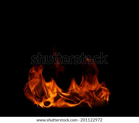 high resolution flame on a black background