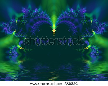 High resolution fractal rendering of dark tunnel with water - stock photo