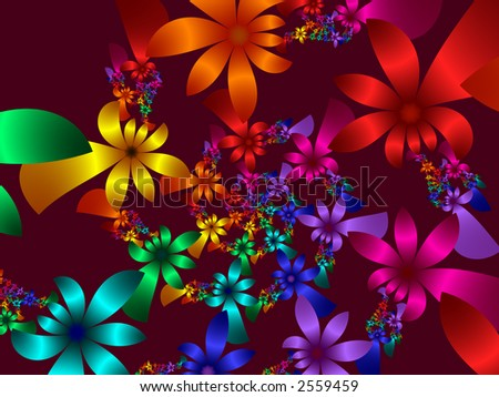 High resolution fractal rendering of multi colored flower petals - stock photo