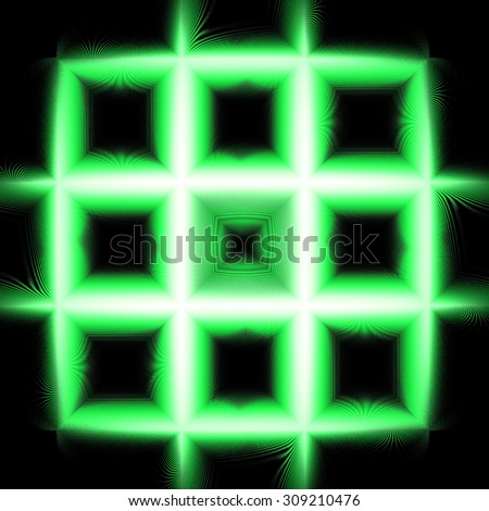 High resolution fractal square grid background made from connected squares creating a big square pattern, all in shining green against black background