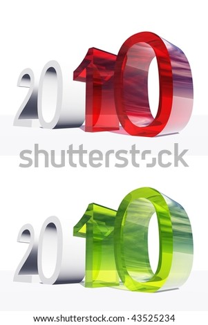 High resolution green and red glass 3D 2010 year isolated on white background - stock photo