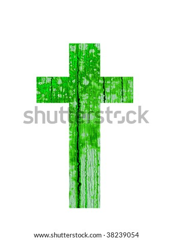 high resolution green cross or religion  symbol isolated on white background