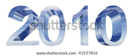 High resolution green 3D silver 2010 year isolated on white background - stock photo