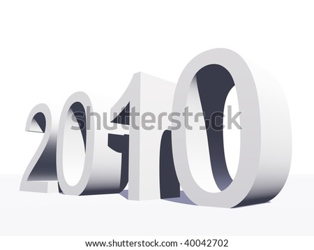 High resolution green 3D 2010 year isolated on white background - stock photo