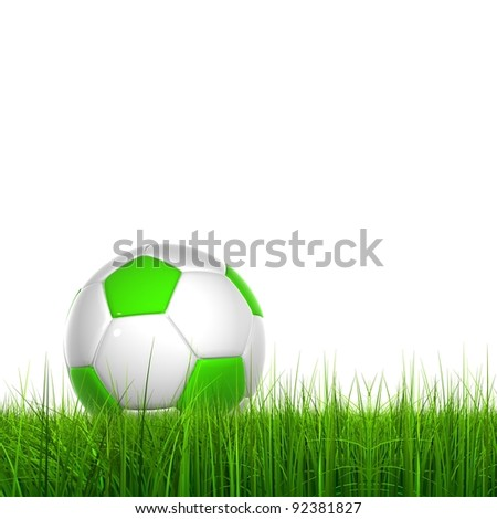 High resolution green, fresh and natural 3d conceptual grass isolated on white background with a soccer ball at horizon ideal for club,sport,recreation,competition, fun  and football designs