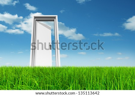 High resolution green, fresh and natural 3d conceptual grass over a blue sky background, a opened door at horizon ideal for religion,home,recreation,faith,business,success,oportunity or future - stock photo