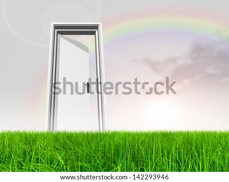 High resolution green, fresh and natural 3d conceptual grass over a blue sky background, a opened door at horizon ideal as religion,home,recreation,faith,business,success,opportunity or future rainbow