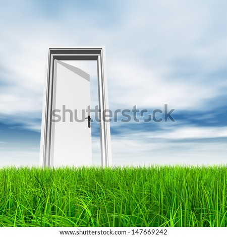 High resolution green, fresh and natural 3d conceptual grass over a blue sky background, a opened door at horizon ideal for religion,home,recreation,faith,business,success,opportunity or future