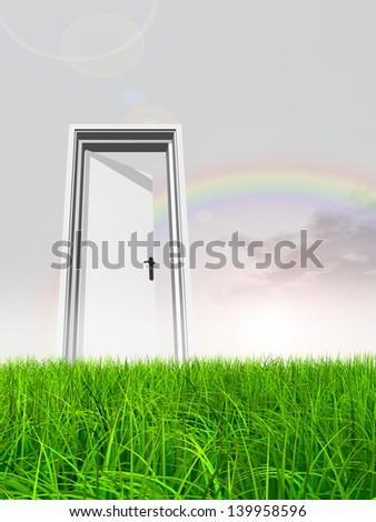 High resolution green, fresh and natural 3d conceptual grass over a blue sky rainbow background, opened door at horizon ideal for religion,home,recreation,faith,business,success,opportunity or future