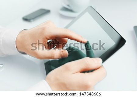 high resolution hand touching tablet