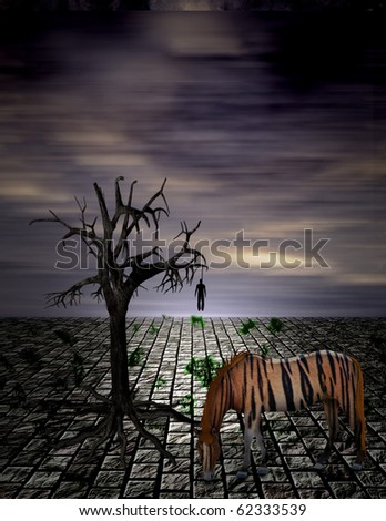High Resolution Hanging Man in Surreal Scene - stock photo