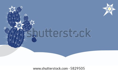 High resolution illustration of a blooming cactus with christmas ball in a snowy desert under Bethlehem star - stock photo