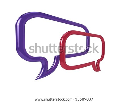High resolution illustration of a pair of glossy chat balloons. - stock photo