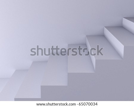 High resolution image. 3d render. White Ladder. Conceptual image.
