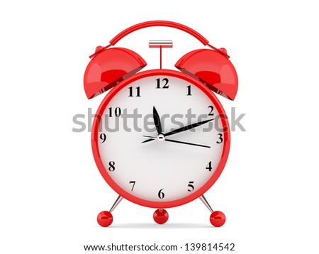 High resolution image. 3d rendered illustration. Alarm clock isolated on white background. - stock photo