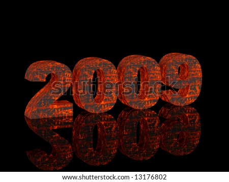 High resolution image new-year.  3d illustration. Fiery text. Mirror reflection. - stock photo
