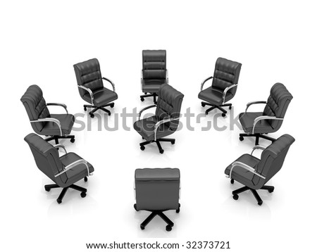 High resolution image office armchair. 3d illustration over  white backgrounds. - stock photo