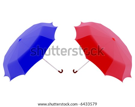 High resolution image red and blue umbrella.  3d illustration over white backgrounds. - stock photo