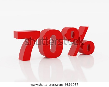 High resolution image seventy percent. 3d illustration over  white backgrounds. - stock photo