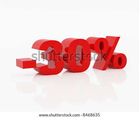 High resolution image thirty percent. 3d illustration over  white backgrounds. - stock photo