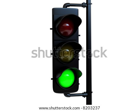 High resolution image traffic light green with light.  3d illustration over  white backgrounds.