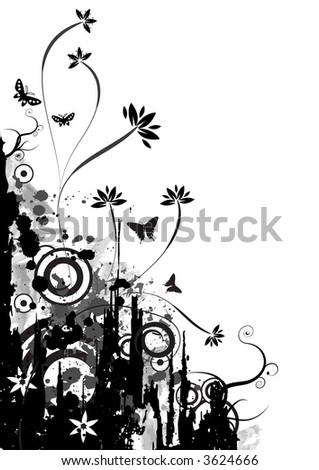high resolution JPG of a trendy grunge floral design