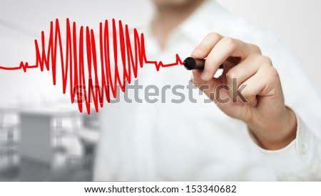 High resolution man drawing chart heartbeat