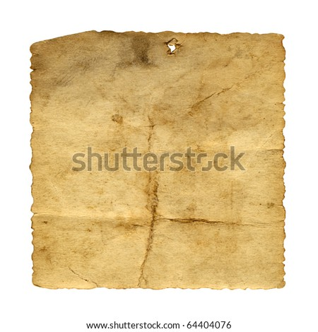 High resolution old paper vintage background isolated on white - stock photo