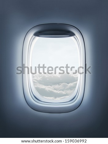 High resolution open aircraft's airplane window - stock photo
