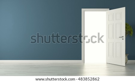 high-resolution opened door with blue wall concept 3D rendering background for your project by Sedat SEVEN
