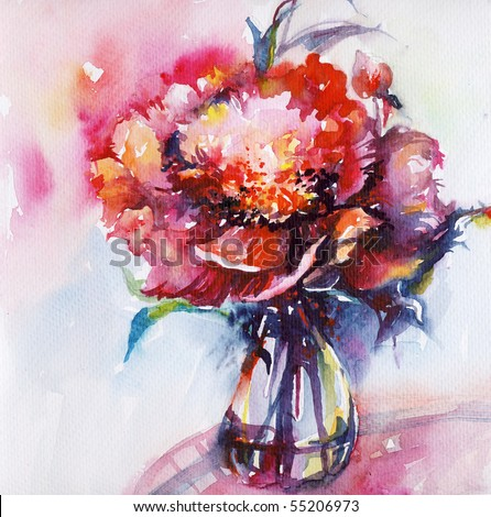 "High-resolution original watercolor illustration painted by me ""Peony"" - stock photo"